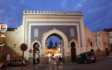 bab: Bab Bou Jeloud - ancient gate to the medina in Fes, Morocco