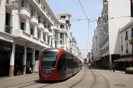 streetcar: Modern tramway in the city of Casablanca, Morocco