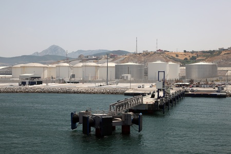 med: Fuel and oil storage tanks at the Tangier Mediterranean Port in Morocco