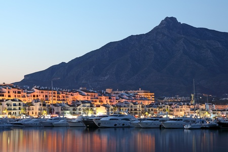 Puerto Banus at dusk, marina of Marbella, Spain Stock Photo