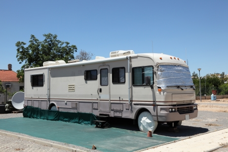 camping site: Large RV on a camping site Stock Photo