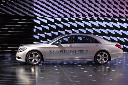 plugin: International Motor Show in Frankfurt, Germany. Mercedes Benz S500 Plug-in Hybrid at the 65th IAA in Frankfurt, Germany on September 17, 2013