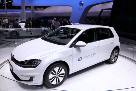 International Motor Show in Frankfurt, Germany. Volkswagen presenting the E-Golf at the 65th IAA in Frankfurt, Germany on September 17, 2013 Redakční