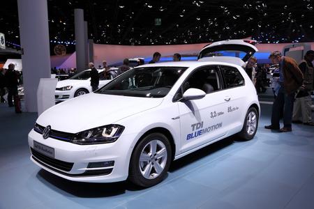 International Motor Show in Frankfurt, Germany. Volkswagen presenting the new Golf TDI BlueMotion at the 65th IAA in Frankfurt, Germany on September 17, 2013 Redakční