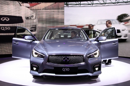 infiniti: International Motor Show in Frankfurt, Germany. Infiniti Q50 at the 65th IAA in Frankfurt, Germany on September 17, 2013