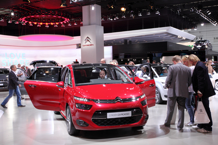psa: International Motor Show in Frankfurt, Germany. Citroen presenting the new C4 Picasso at the 65th IAA in Frankfurt, Germany on September 17, 2013