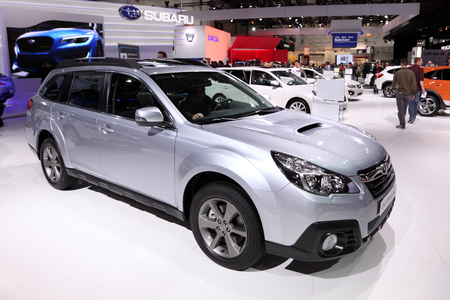 International Motor Show in Frankfurt, Germany. Subaru Outback SUV at the 65th IAA in Frankfurt, Germany on September 17, 2013