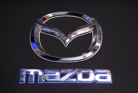 iaa: International Motor Show in Frankfurt, Germany. Mazda Company Logo at the 65th IAA in Frankfurt, Germany on September 17, 2013