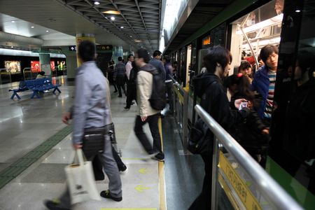 Train at the metro station in Shanghai, China