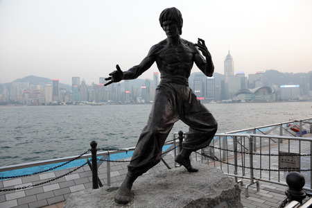 Statue of the famous actor Bruce Lee at the Avenue of Stars in Hong Kong