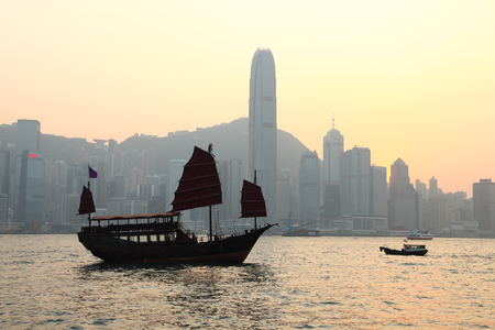 Skyline of Hong Kong in the evening photo