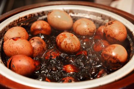 bejing: Typical Asian tea eggs in Hong Kong Stock Photo
