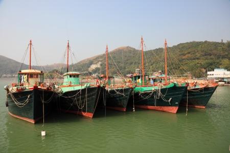 lantau: Barche da pesca in Tai O villaggio. Lantau Island, Hong Kong, Cina