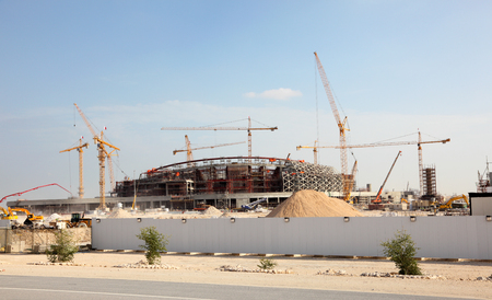 construction machinery: Construction of a stadium in the desert of Qatar, Middle East