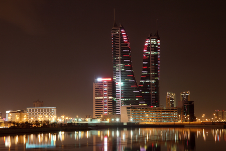 world trade center: Skyline of Manama at night. Bahrain, Middle East