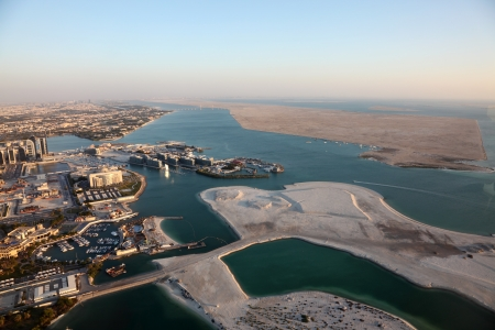 Aerial view over the coast of Abu Dhabi, United Arab Emirates