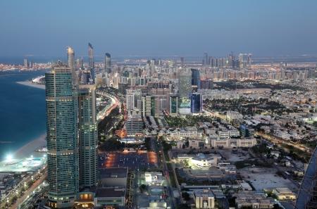 abu dhabi: City of Abu Dhabi at dusk, United Arab Emirates