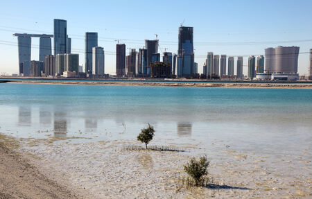 View of Abu Dhabi from Saadiyat Island, United Arab Emirates photo
