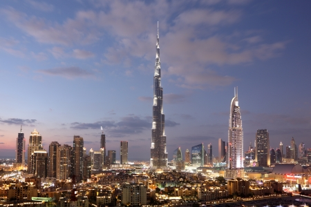 Burj Khalifa and Dubai Downtown at dusk. United Arab Emirates