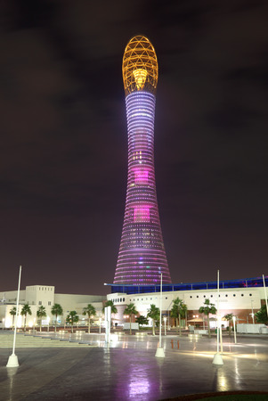 The Aspire Tower or Torch Hotel in Doha Sports City, Qatar, Middle East Editorial