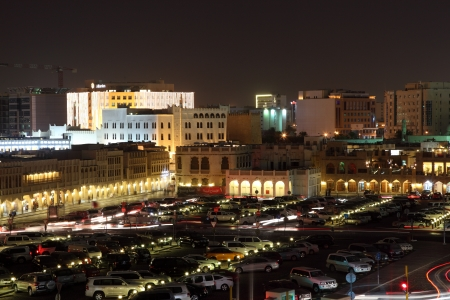 souq: Parking lot at the Souq Waqif at night. Doha, Qatar, Middle East Editorial