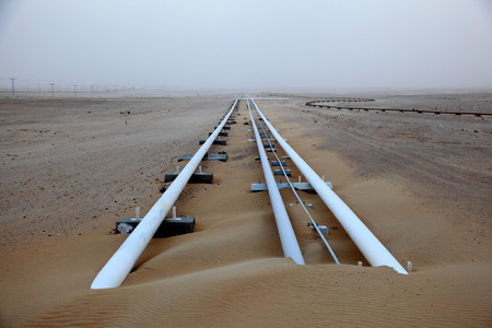 Oil pipeline in the desert of Qatar, Middle East