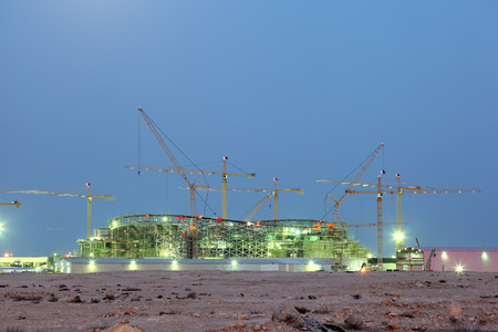 Construction of a new stadium in the desert of Qatar, Middle East 版權商用圖片