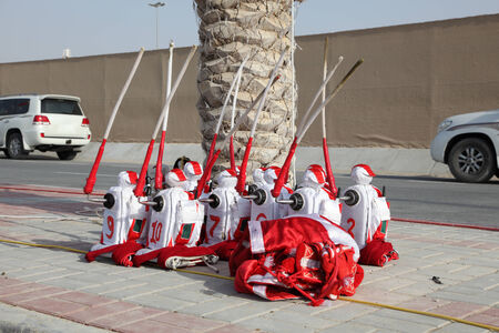 Jockey Robots at the Camel Race Track in Doha, Qatar, Middle East Stock Photo