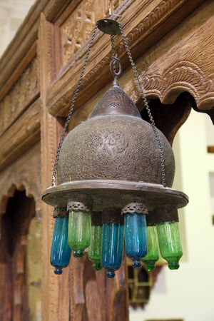 artisanry: Ancient arabian lamp in Doha, Qatar, Middle East Editorial