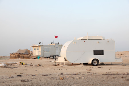 Camping at the Arabian Gulf coast in Qatar, Middle East photo