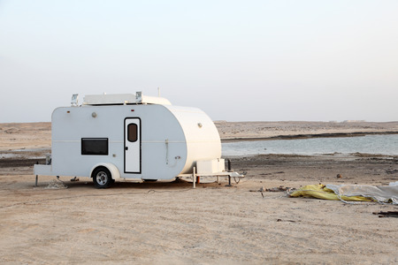 Trailer on the beach of Arabian Gulf in Qatar