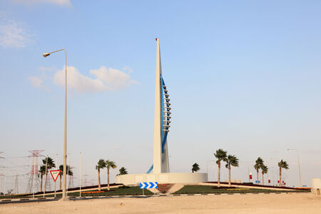 Roundabout monument at Ras Laffan in Qatar, Middle East 報道画像