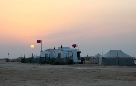 Desert camp on the Arabian Gulf coast of Qatar, Middle East photo