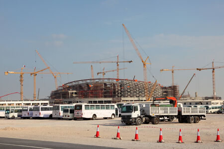 football world cup: Construction of a stadium in the desert of Qatar, Middle East