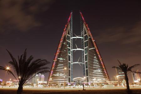 wtc: Bahrain World Trade Center Skyscraper at night. Manama, Middle East