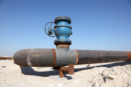 Oil pipeline in the desert of Bahrain. Middle East photo