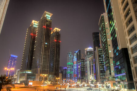 middle east: Doha downtown at night. HDR photo. Doha, Qatar, Middle East