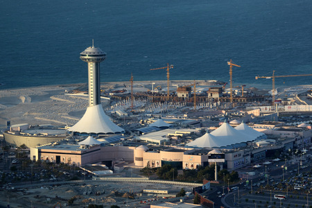 mall of the emirates: Aerial view of the Marina Mall in Abu Dhabi, United Arab Emirates Editorial