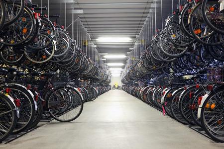 munster: Bicycle garage in Munster. North Rhine-Westphalia, Germany Editorial