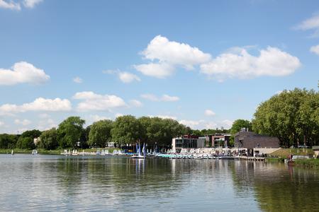 munster: Aasee lake in Munster, North Rhine-Westphalia, Germany Editorial