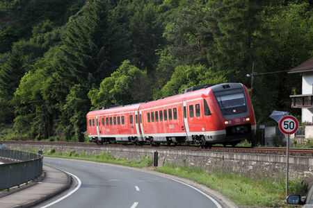 tilting: German regional train tilting in a bend