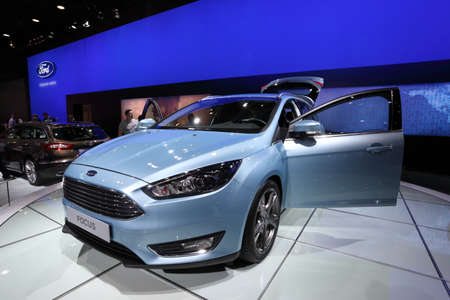auto focus: LEIPZIG, GERMANY - JUNE 1: New Ford Focus at the AMI - Auto Mobile International Trade Fair on June 1st, 2014 in Leipzig, Saxony, Germany