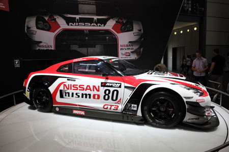 nissan: LEIPZIG, GERMANY - JUNE 1: Nissan GT3 Nismo Racing Car at the AMI - Auto Mobile International Trade Fair on June 1st, 2014 in Leipzig, Saxony, Germany