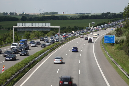 Traffic Jam because of a construction site on the autobahn (highway) in Germany