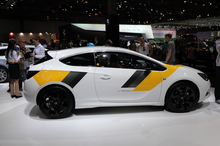 astra: Opel Astra GTC at the AMI - Auto Mobile International Trade Fair on June 1st, 2014 in Leipzig, Saxony, Germany