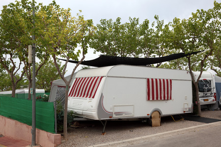 camping site: Caravan on a camping site in Spain Stock Photo
