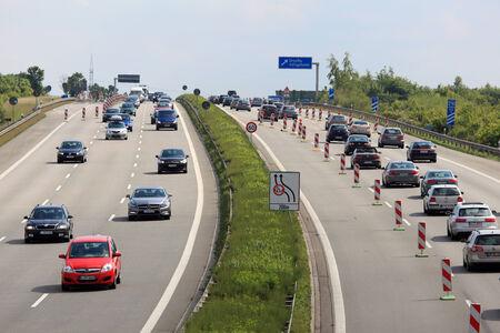 autobahn: Traffic jam on German autobahn (highway)