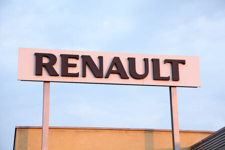 Renault sign at a french car manufacturer dealership Editorial