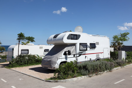 Camping site at the mediterranean coast in southern Spain Stock Photo
