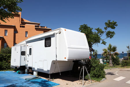 Caravan on a camping site in Spain Stock Photo